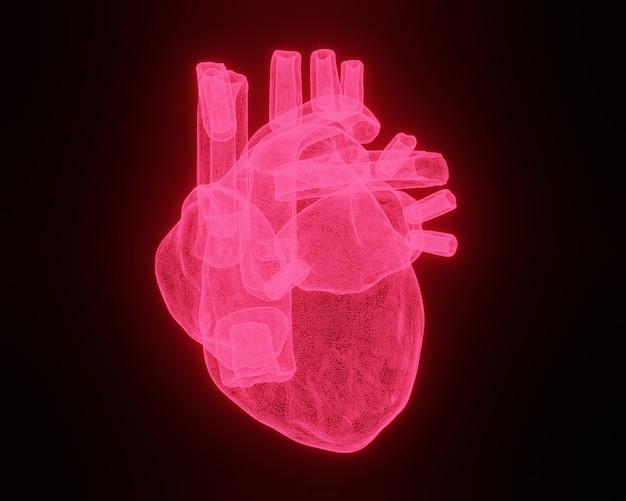 Каркасная сетка сердце на черном фоне. 3d иллюстрация