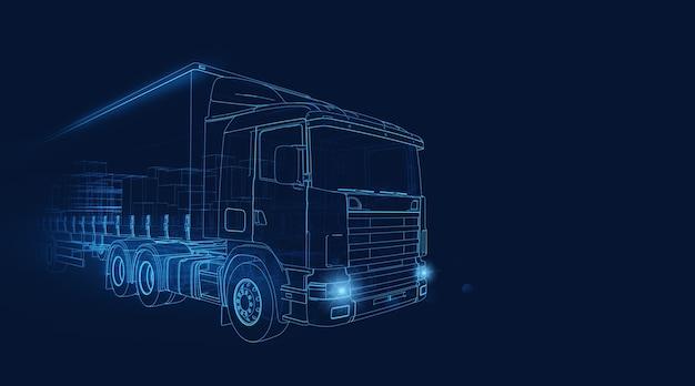 紺色の背景で高速で移動するトランスポータートラックのワイヤーフレーム