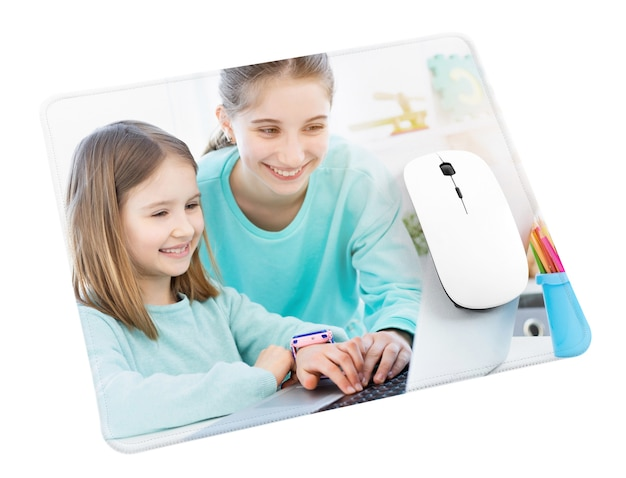 Wireless computer mouse on mouse pad isolated