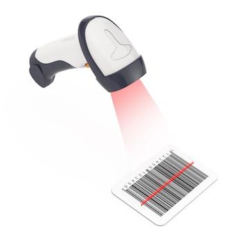 白い背景の上のレーザー光でバーコードを読み取るワイヤレス手動バーコードリーダー。 3dレンダリング