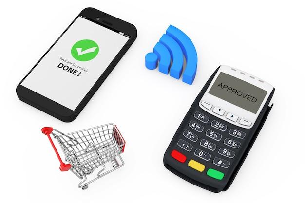무선 지불 개념입니다. 흰색 바탕에 pos 터미널과 무선 표시가 있는 휴대전화 근처의 쇼핑 카트. 3d 렌더링.