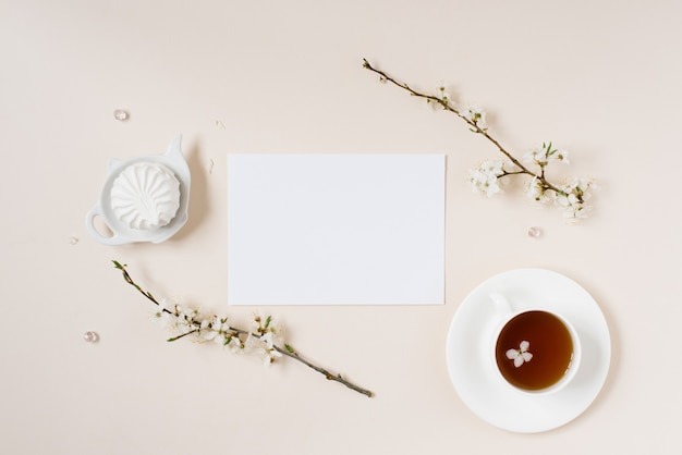 Wish list for future plans. flat lay composition with flowers, notepad