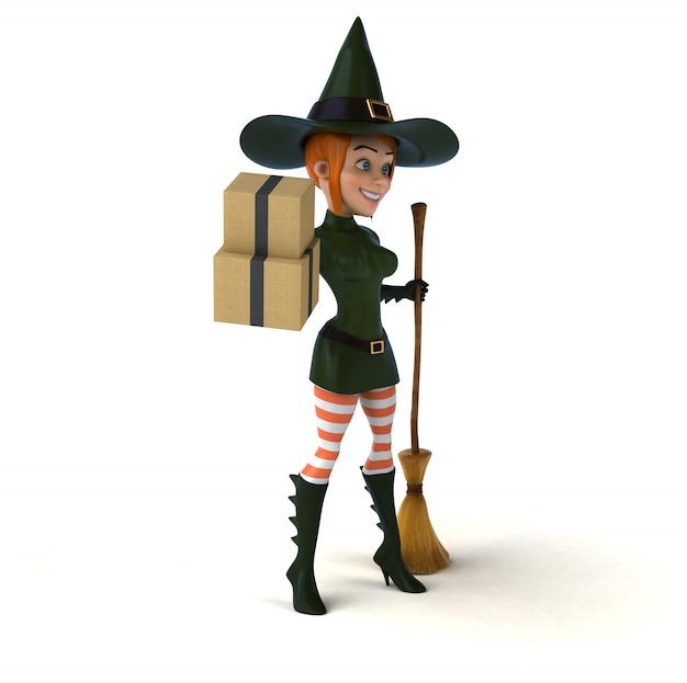 Ведьма персонаж - 3d иллюстрация