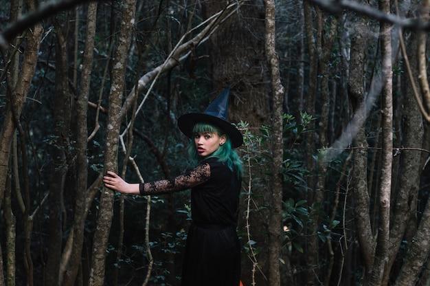 Ведьма, идущая по дереву