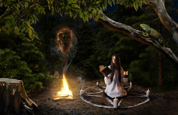 Witch in white shirt calling spirits of dead people, pentagram circle with candles, dark magic ritual in the forest, witchcraft. occultism and exorcism