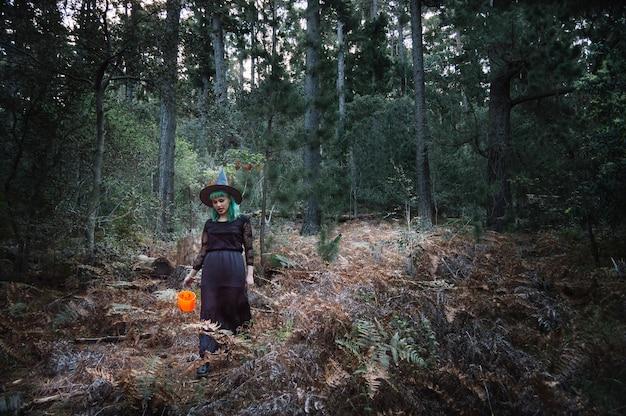 Ведьма с ведром в лесу