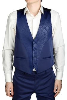 С синим рисунком жилет для жениха мужской свадебный костюм, изолированные на белом фоне.