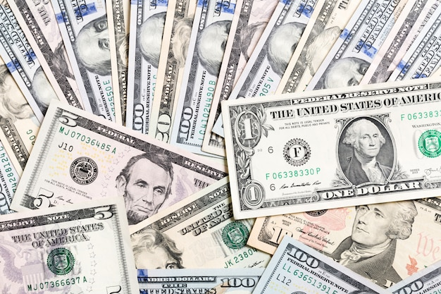 With money american hundred dollar bills, horizontal. top view of business  on background with copyspace