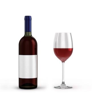 赤ワインのボトルと白い背景で隔離のワインとグラス