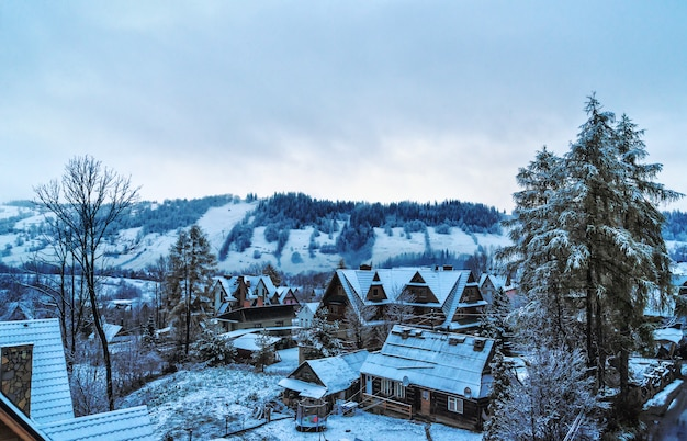 With views of the tatras villas in zakopane winter morning