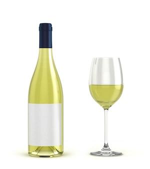 白ワインボトルと白い背景で隔離のワインとグラス