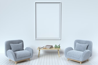Within the have picture frame and fabric sofa with pillows on a white background wall