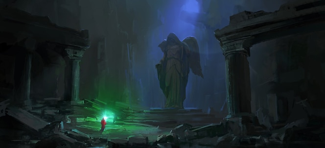 Wizard in the dark dungeon illustration.