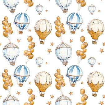水彩お祝いシームレスパターン。手描きの花輪、熱気球のヴィンテージwllpaperデザイン