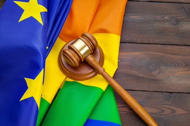 Woden judge mallet, law and justice with lgbt flag