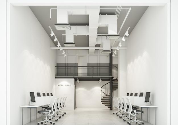 ロフトスタイルの3dレンダリングでコンクリートの床とエアダクトに白とグレーの色調の部屋のwokringスペースモダンなオフィス