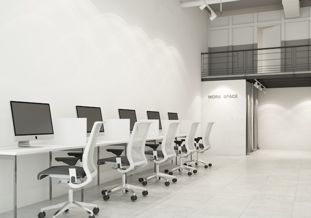 Wokring space modern office in room with white and gray tone on concrete floor and air duct in loft style 3d rendering
