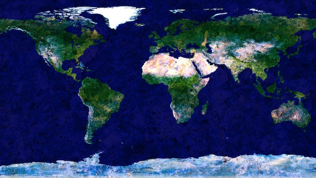 Wold map made by hard blue granite stone texture surface background