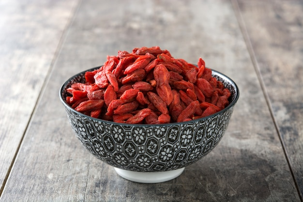 Wolfberries or goji berries in bowl on wooden surface