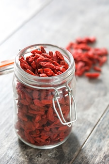 Wolfberries or goji berries in jar on wooden table