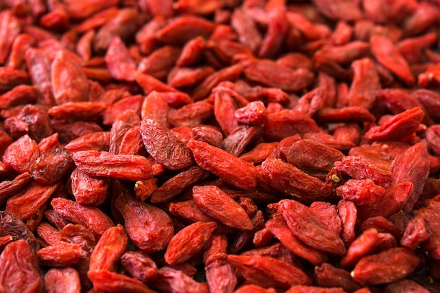Wolfberries or goji berries surface