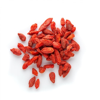 Wolfberry or dried goji berries isolated o