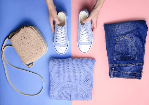 Женские аксессуары, одежда, обувь изолированные
