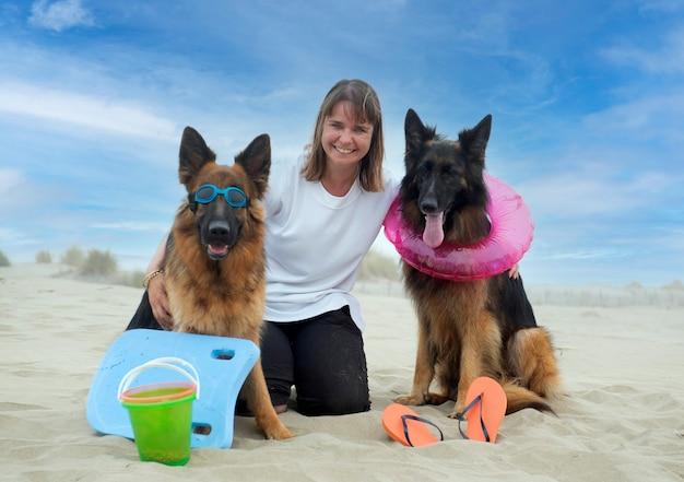 Женщина и немецкие овчарки остаются на пляже