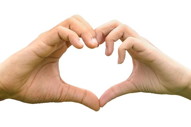 Женщина и мужчина руки делает знак сердце, изолированные на белом фоне