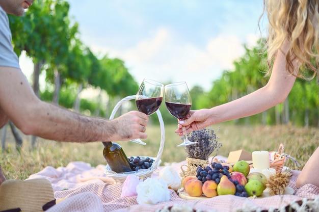 여자와 남자 와인 잔 토스트 만들기. 포도밭에서 즐기는 야외 피크닉