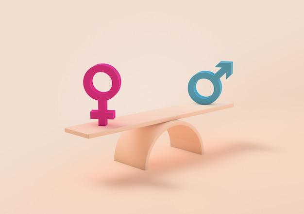 Женщина и мужчина подписывают весы, понятие равенства
