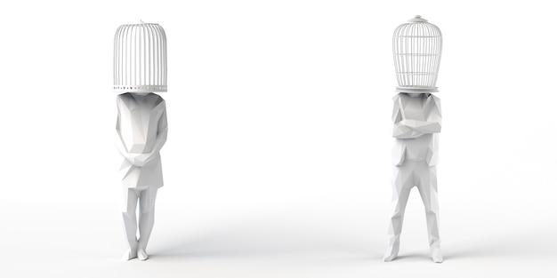 Женщина и мужчина с клеткой вместо головы абстрактное понятие свободы 3d иллюстрации