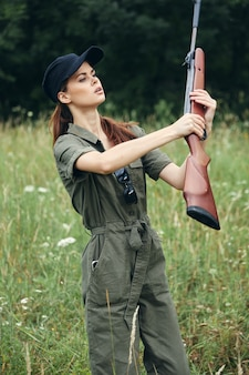 Woman arms in hand fresh air hunting