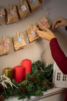 Woman arranging christmas ornaments