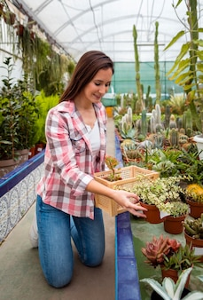 Woman arranging flower pots in greenhouse