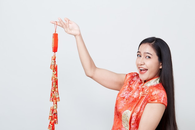 Woman asian in traditional chinese long dress