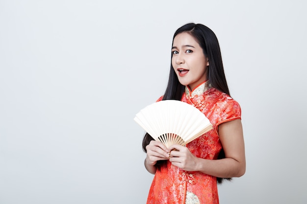 Woman asian wearing red dress in chinese new year