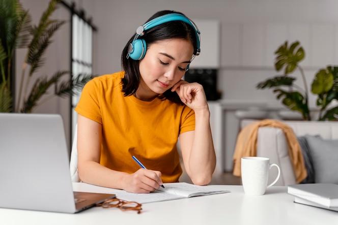 Woman attending online class