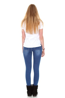 Woman back with full body and casual clothes