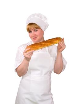 Женщина-пекарь с багетом, изолированные на белом фоне