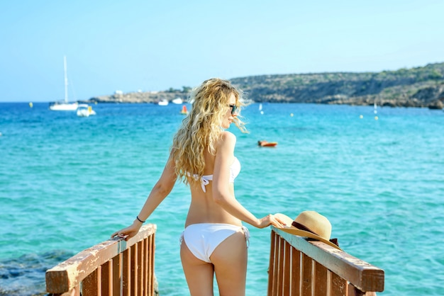 Woman at the beach in cyprus