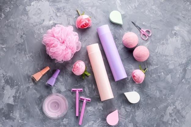 Woman beauty treatment concept, top view