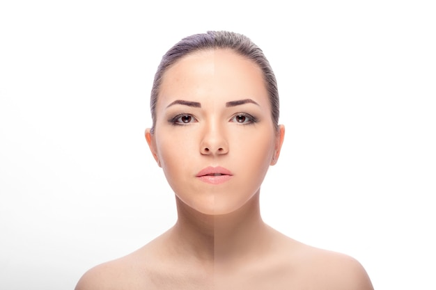 Женщина до и после ретуши