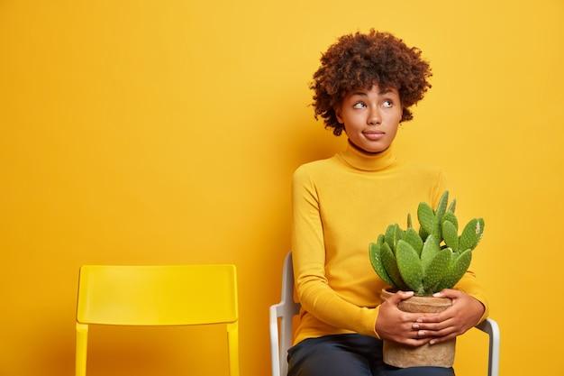 考えが深い女性は、上に集中した鉢植えのサボテンを持ち、黄色に隔離された空の椅子の近くで孤独なポーズを感じる