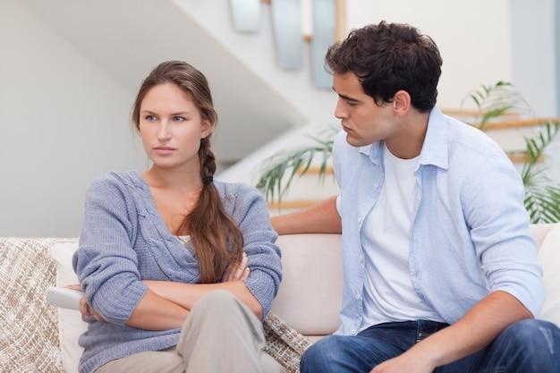Woman being mad at her boyfriend