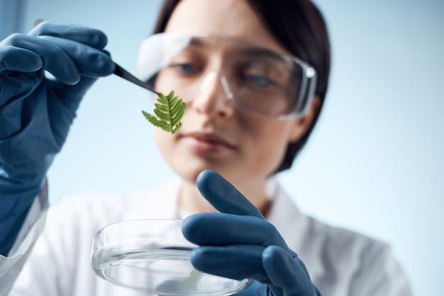 Woman biologist scientist research diagnostics biology science. high quality photo