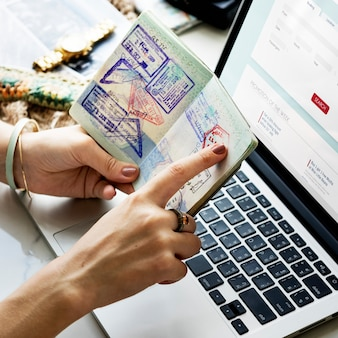 Woman booking ticket online