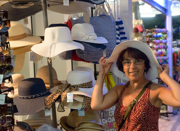 Woman bought a hat