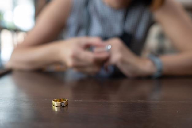Woman broken heart with ring, feel sad, woman unhappy