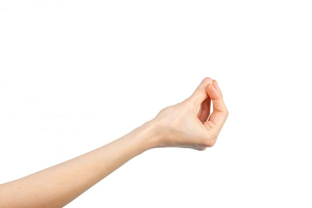 흰색 배경에 그녀의 손가락을 함께 뭉치 여자